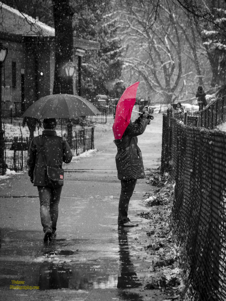 First Snow Central Park Red Umbrella  by chadzilla1