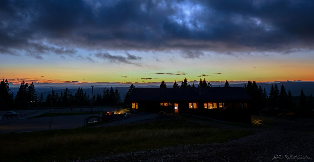 Photo in Random #norway #oslo #sunset #hut #summer 2013 #architecture #landscape #tryvann #cabin #light #sky #clouds #trees #straws #nature #forest