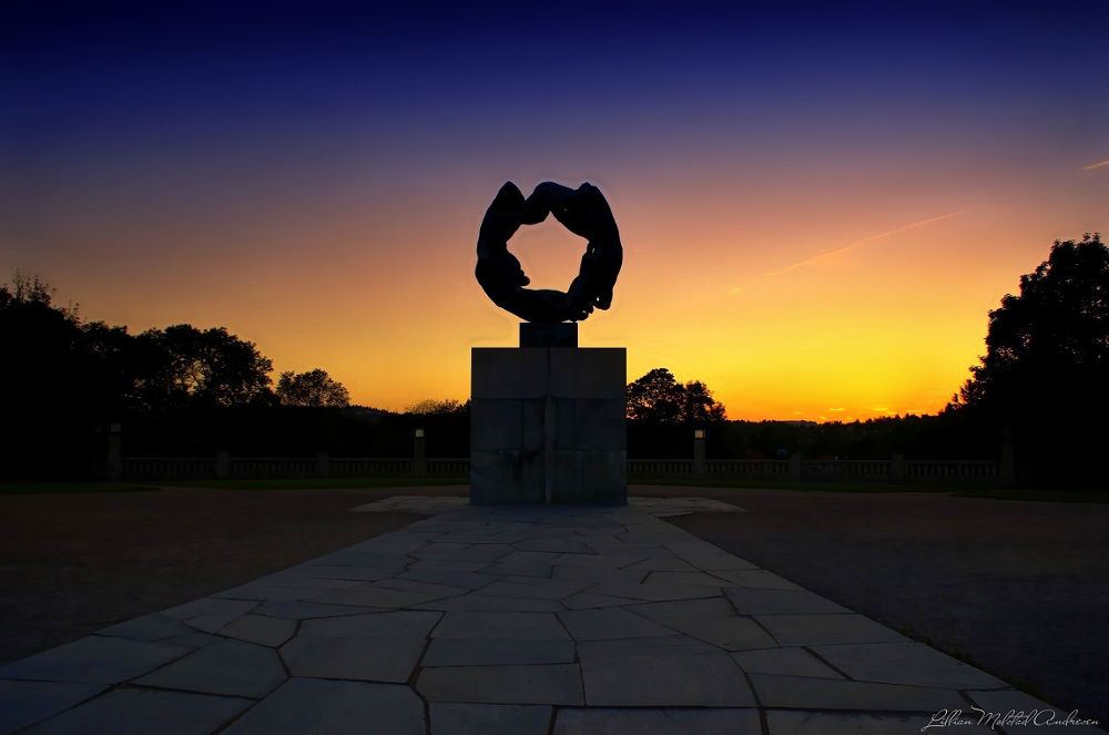 Photo in Architecture #oslo #norway #vigeland sculpture park #sunset #summer 2013 #afternoon #evening #sculpture #bricks #granit stone #sky #sand #trees #fence