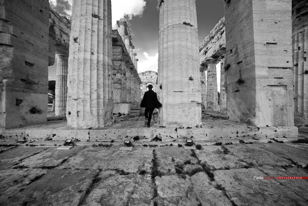 Photo in Black and White #paolo liggeri #paestum #temple of hira #corde oblique