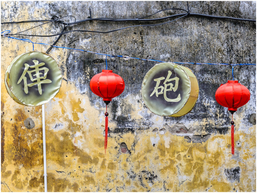 Lanterns and old wall by Giancarlo Bisone