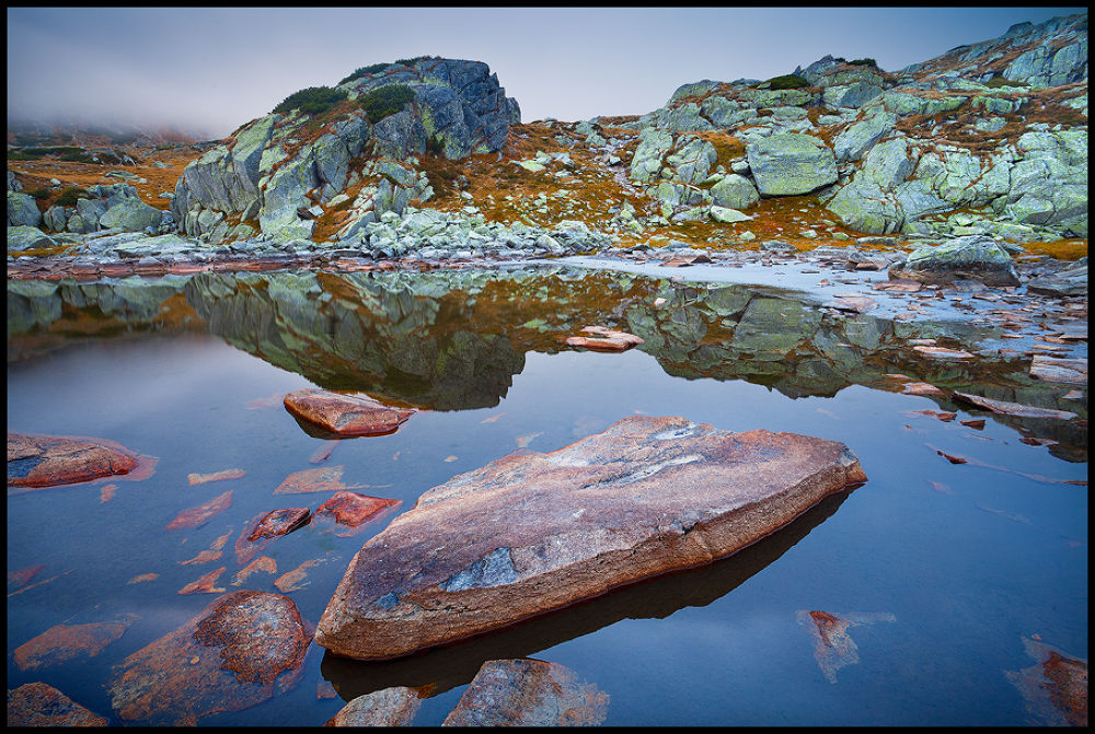 Photo in Landscape #nature #landscape #mountains #morning #romania #lake #stones #cliff #reflection #colorful