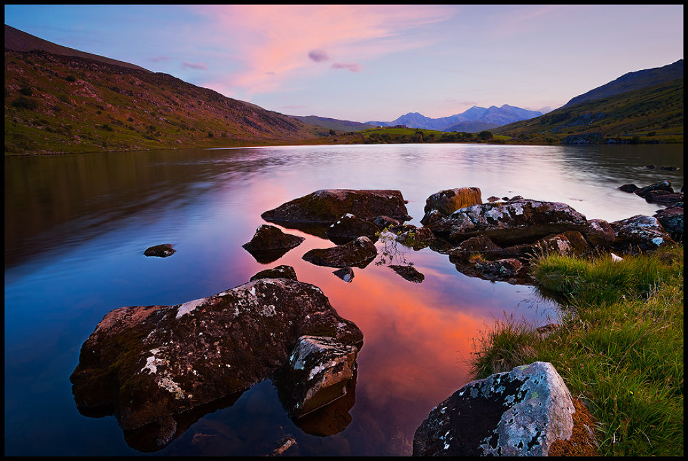Photo in Landscape #nature #landscape #mountains #lake #wales #sunset #red #colorful #stones