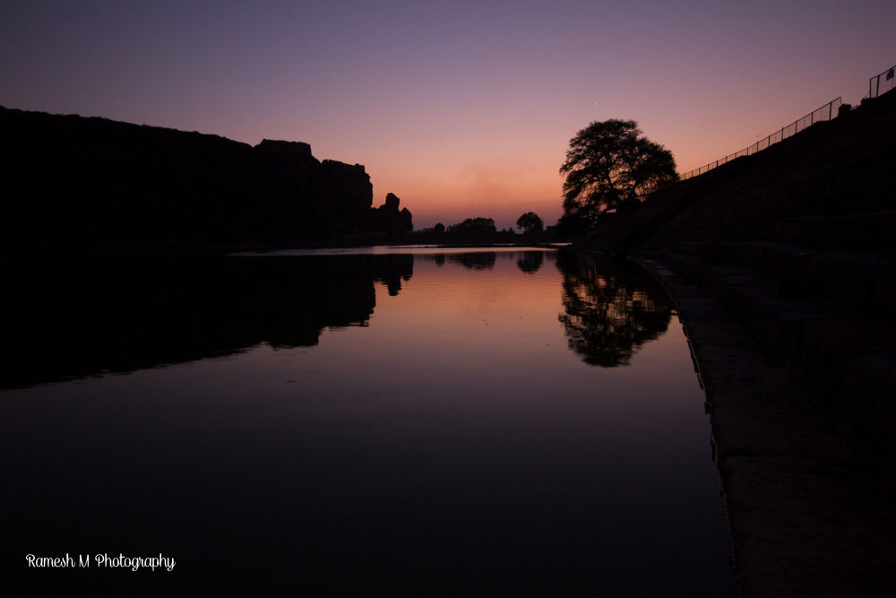 Evening time at Badami Cave temples by Ramesh Muthaiyan