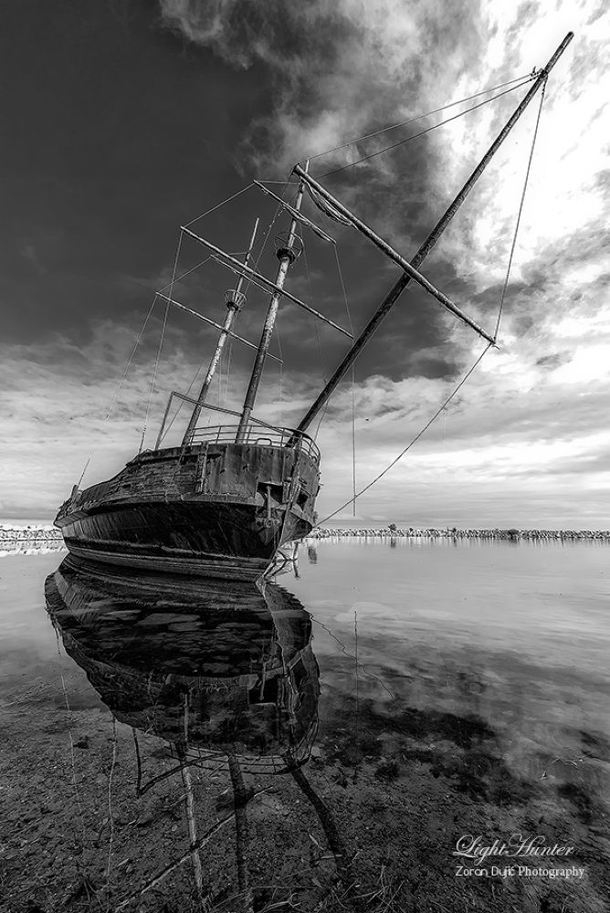Photo in Black and White #ship #wreck #ontario #canada #b&w