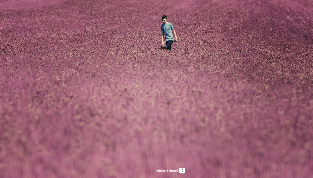 Photo in Fine Art #beautiful #nature #inspiration #color #magenta #land #field #awesome #boy #walking