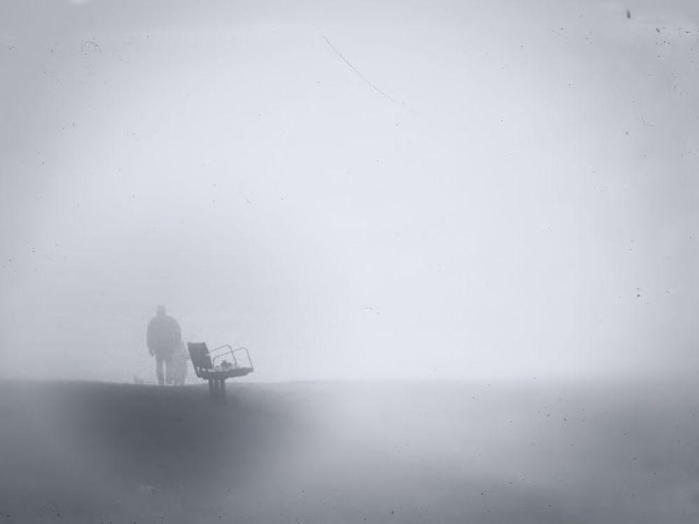 Photo in Random #mist #fog #male #man #park #bench #walking