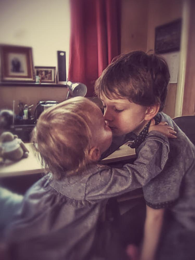 Photo in Family #brother #sister #kiss #love #portrait #boy #girl