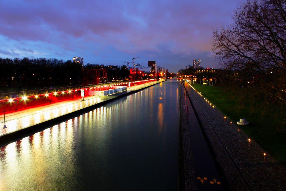 Photo in Cityscape #paris #city #canal #night #lights