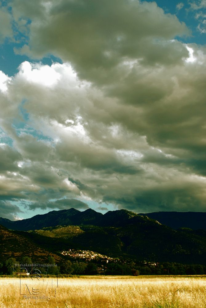 Photo in Landscape #clouds #nature #sky #mountain #vilage #green