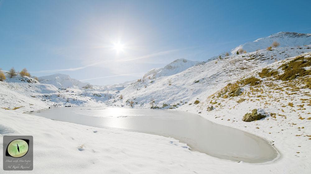 Snowy lake by MarS