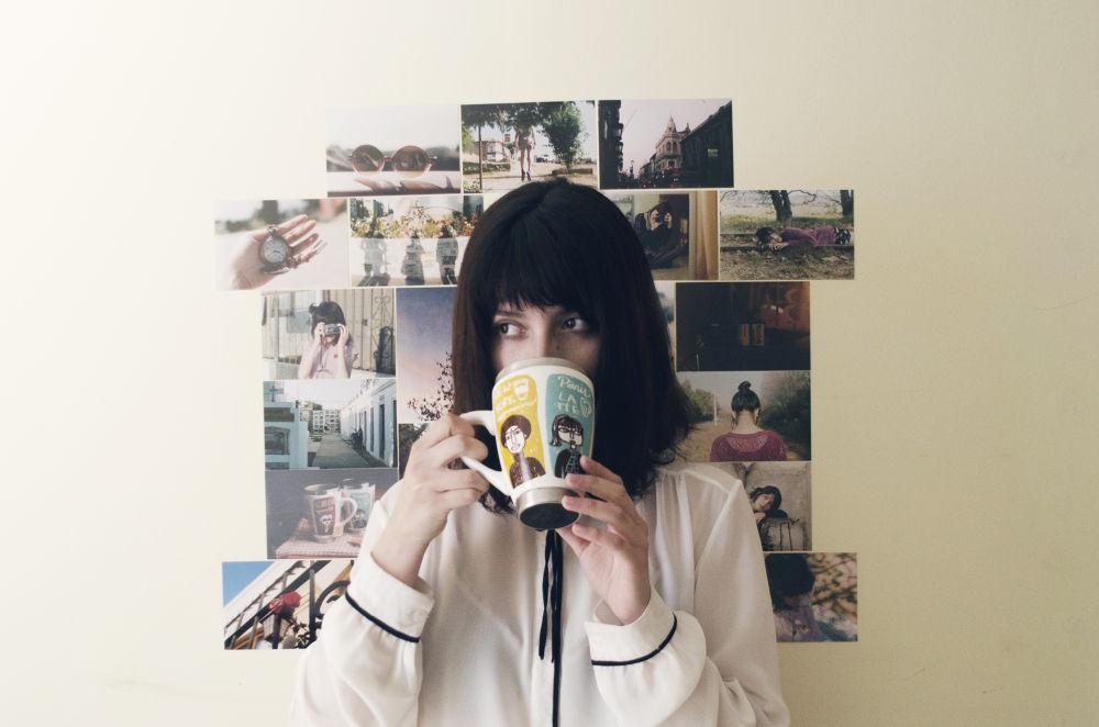 Photo in Portrait #girl #brunette #teacup #photos #film #nikon d5100 #mural #35mm #zenit 122 #zenit 12 xp #analog