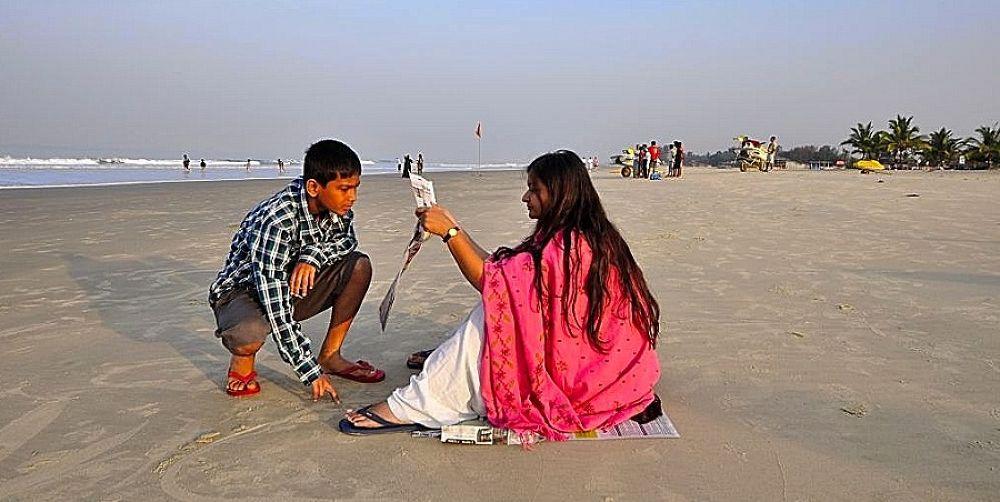 Photo in Sea and Sand #india #goa. goa #people #beach #sea #sand #red #woman