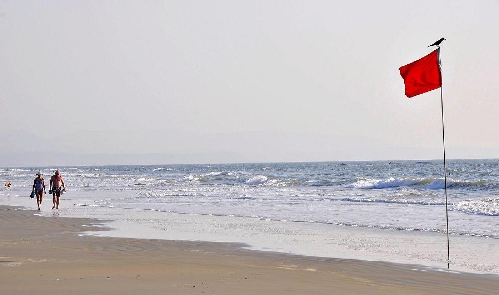 Photo in Sea and Sand #india #goa #red #flag #bird #crow #beach #sea #sand
