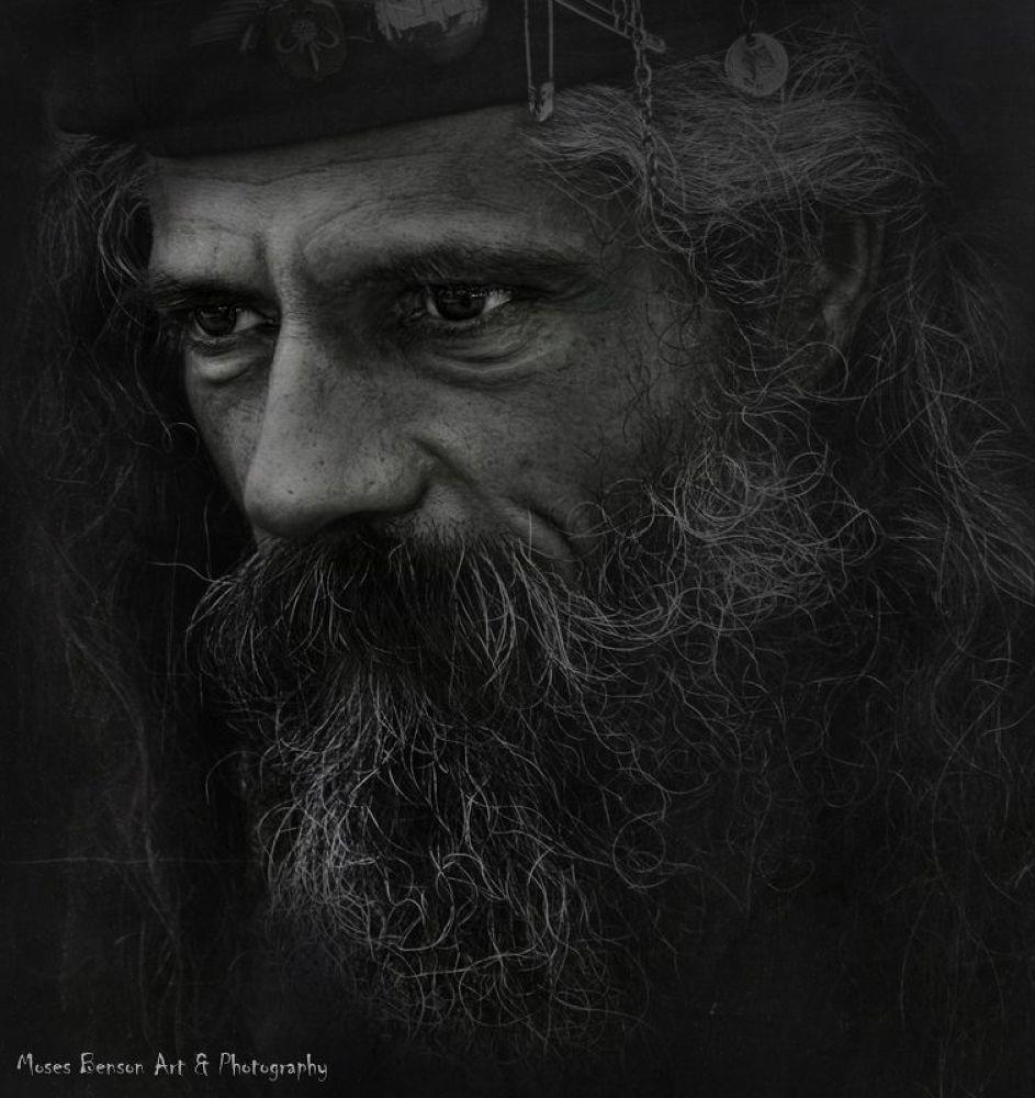 Photo in Portrait #portrait #people #old #man #black & white #moses benson #hair #beard #mustache