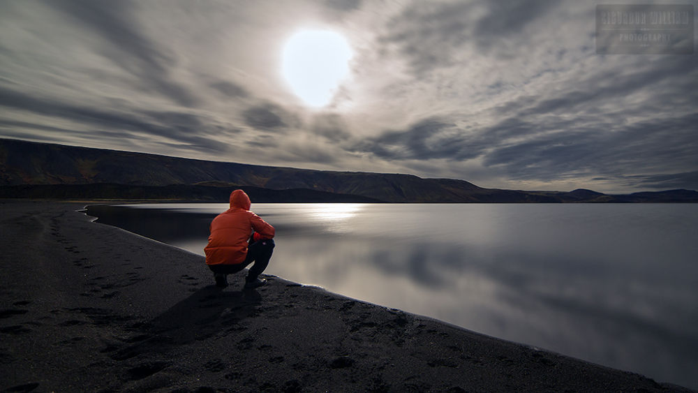 Photo in Random #beach #moon #man #lake #night #rest #cloud #red #calm #peaceful #sand #sit #reflect #lit