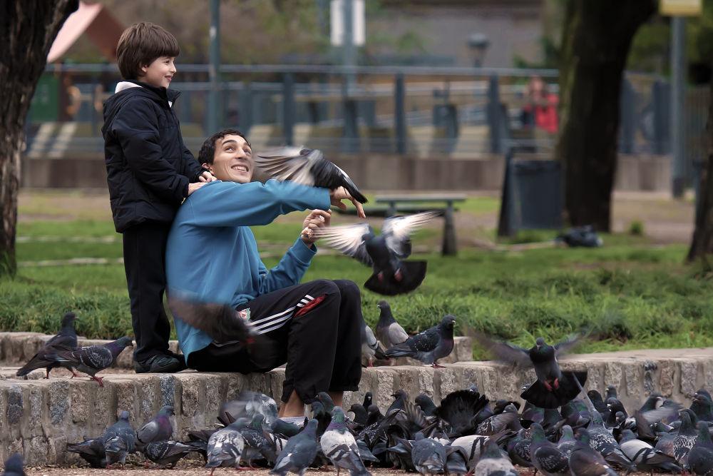 Feeding pigeons by Pablo Passero