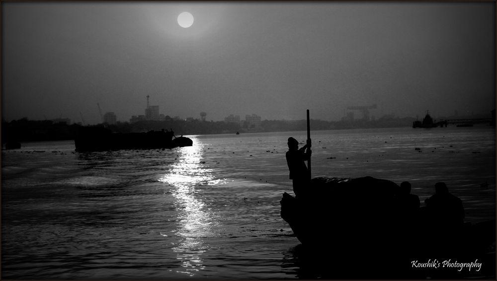 Photo in Street Photography #b/w #river #sailor #kolkata