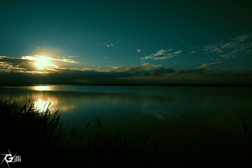 Photo in Random #sunset #sun set #coucher de soleil #reflection #water #etang #lake #sky #soleil #nuage #clouds