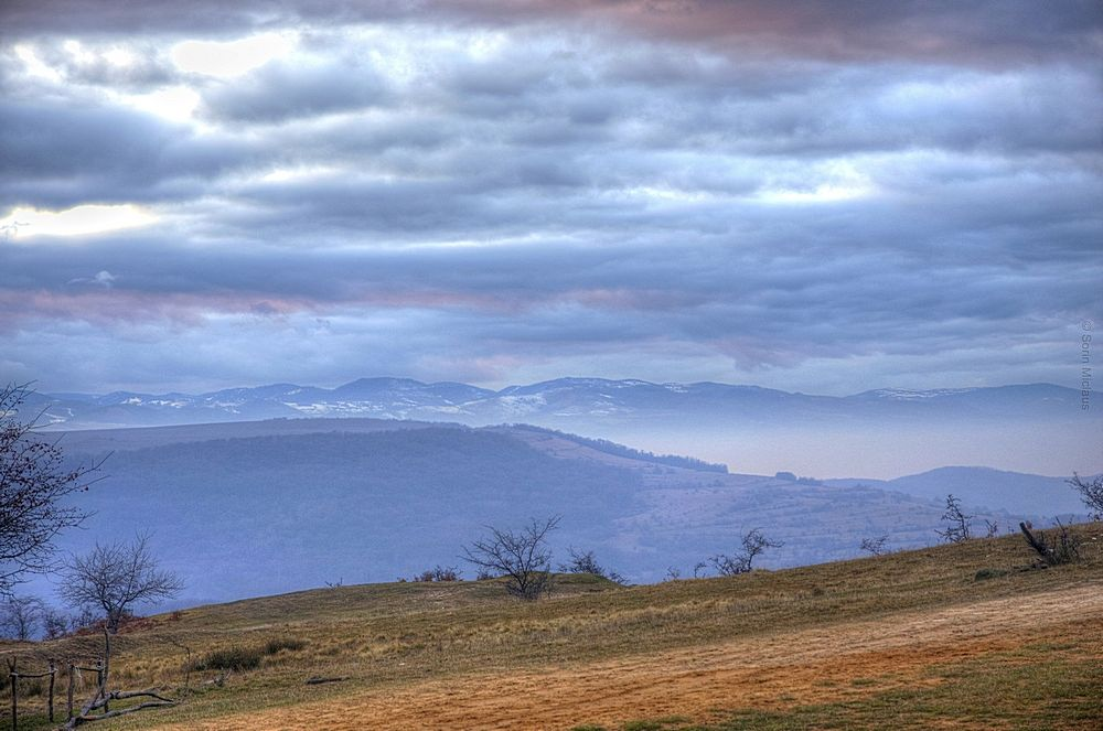 Photo in Landscape #january #field #clouds #evening #hills #mountains #carparthians #transylvania #forest