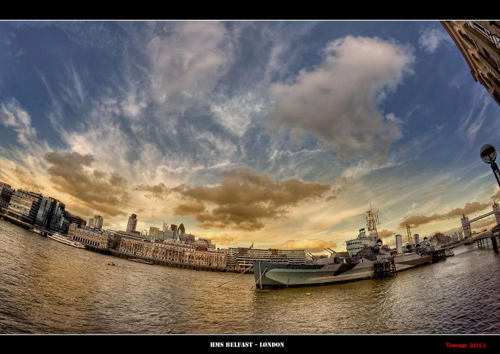 Photo in HDRI #hdr #hdri #dri #london #clouds #fisheye #distortion #sky #boat #belfast