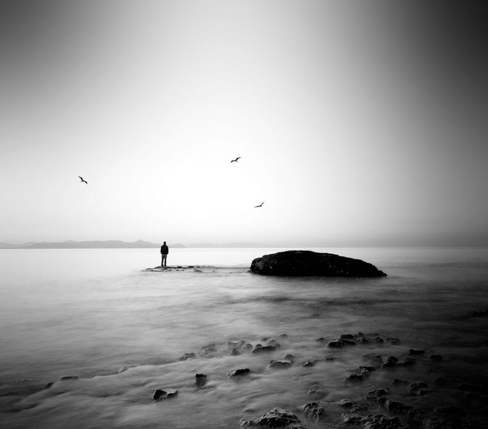 Photo in Fine Art #art #beach #island #white #george #man #black #alone #long #coast #silence #exposure #surrealism #surreal #figure #christakis #lucidity #ypa2013