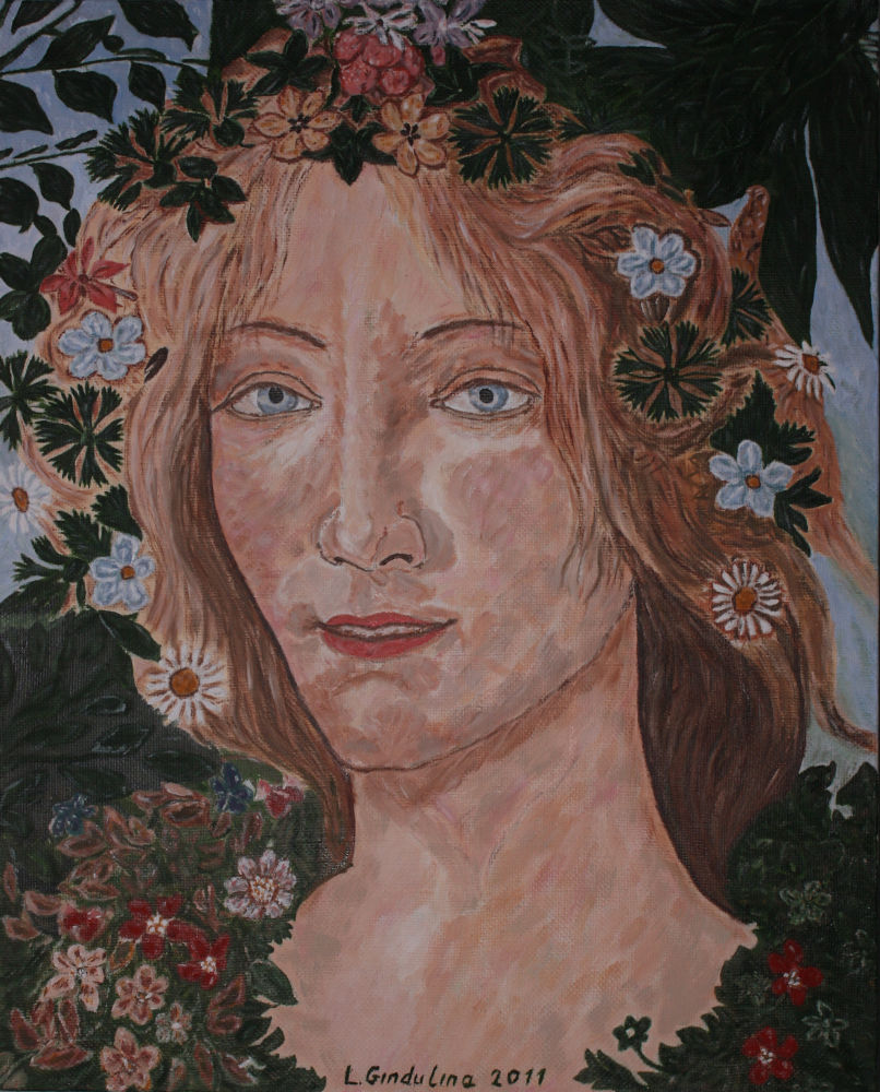 Self-portrait with blue eyes by motif of Flora Boticelli. 50 x 40 cm. Privat collecton. by LudmilaGindulina