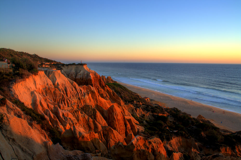 Photo in Landscape #portugal #galé #beach #sand #cliff #waves #ocean #sea #sunset