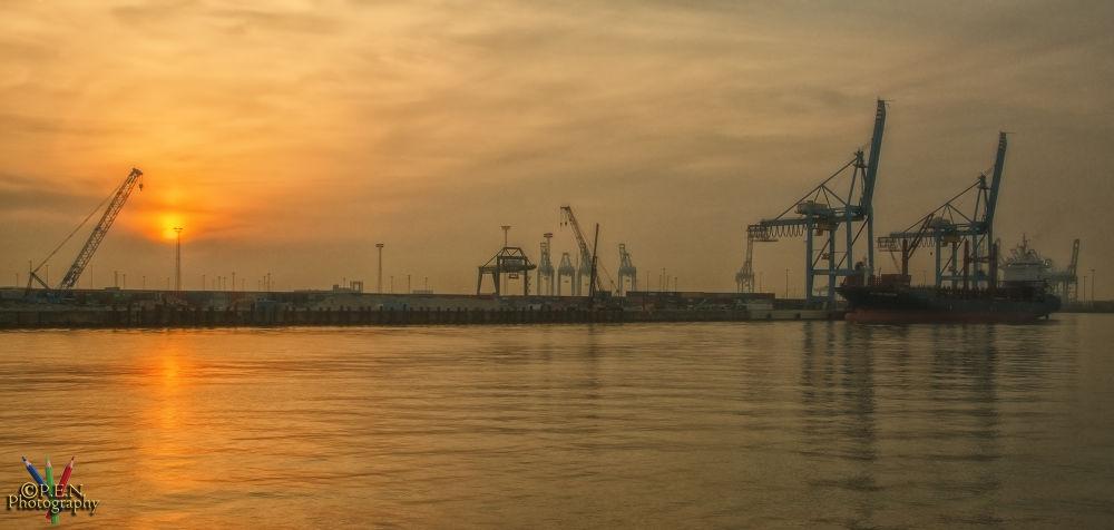 Sunset Seaport Zeebrugge by patrickyolanda
