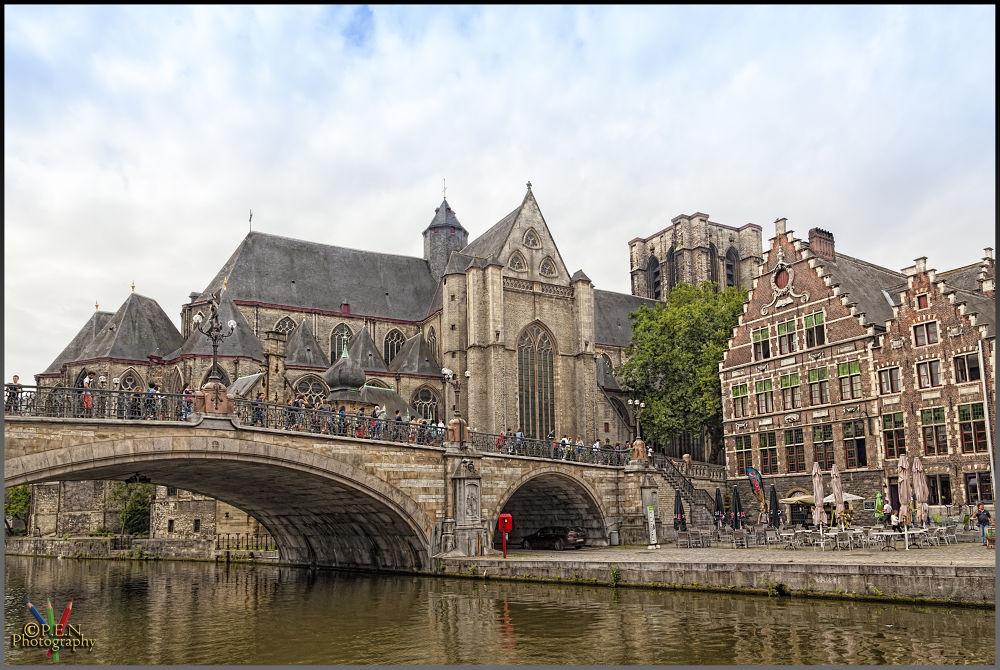 Photo in Cityscape #belgium #flanders #city #ghent #gent #graslei #korenlei #tourist #bridge #water #river #2013 #ypa2013