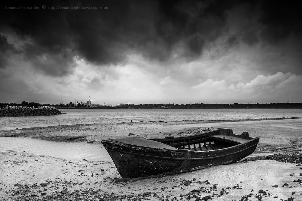 Photo in Black and White #boat #setubal #portugal #clouds