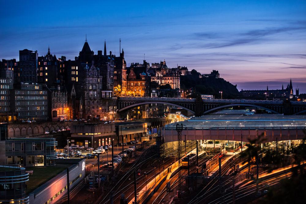 Photo in Architecture #nikon #d800e #scotland #edinburgh #twilight #sunset #sun #train #car #catsle #dusk #uk #england