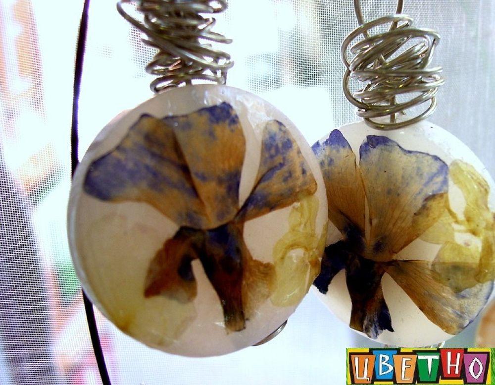 earrings  by real flowers by CvetnoPlovdiv