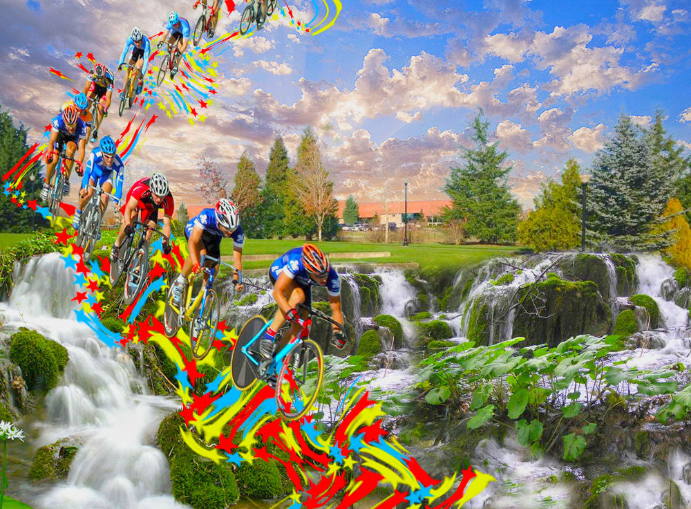 ciclisti che scendono dal cielo by marintmarino