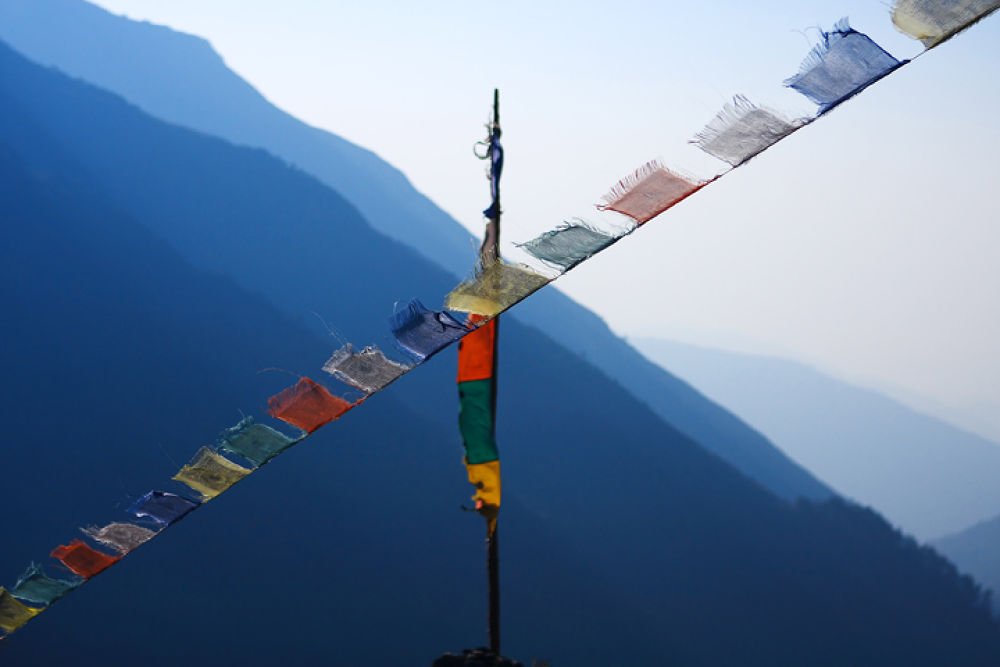 2675 Buddhist prayer flags Lung-ta in the Himalayas, Nepal  by cococinema