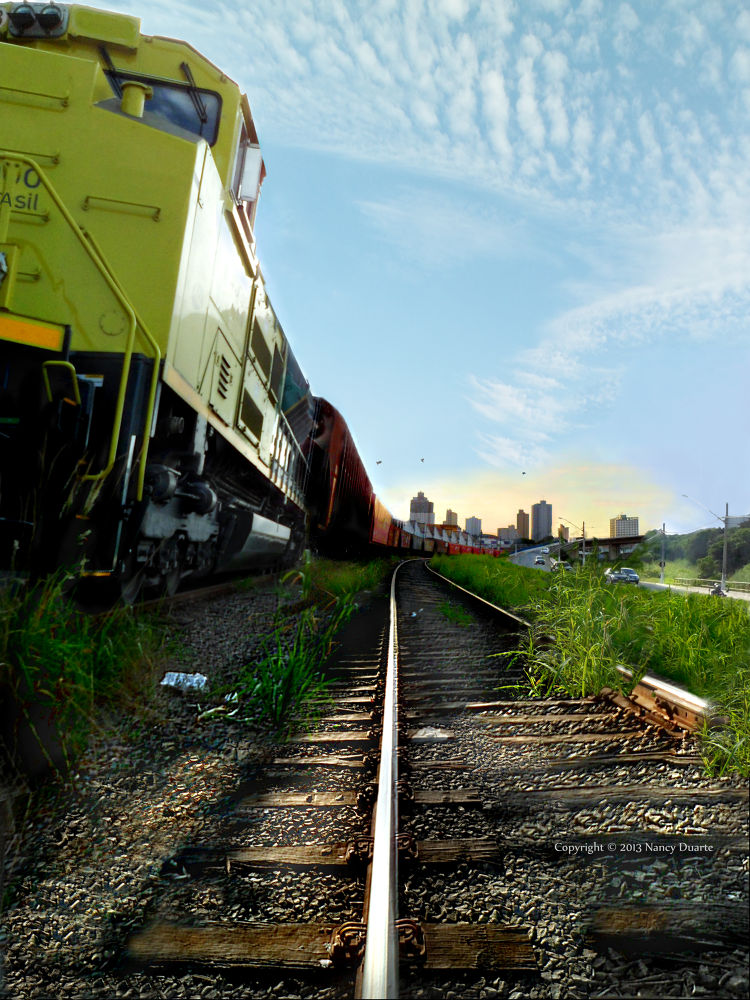 Train and the city by Nancy Photoart