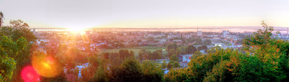 Karlovac in sunrise-panoramic by oliversvob