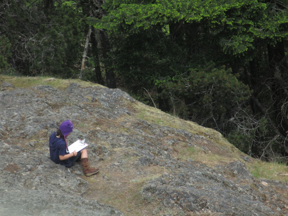 Photo in People #girl #reading #rock #trees