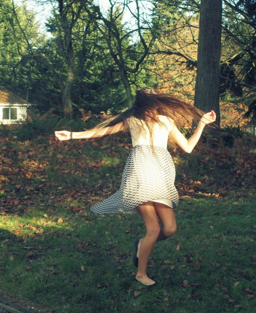 Photo in People #girl #spin #grass #dress