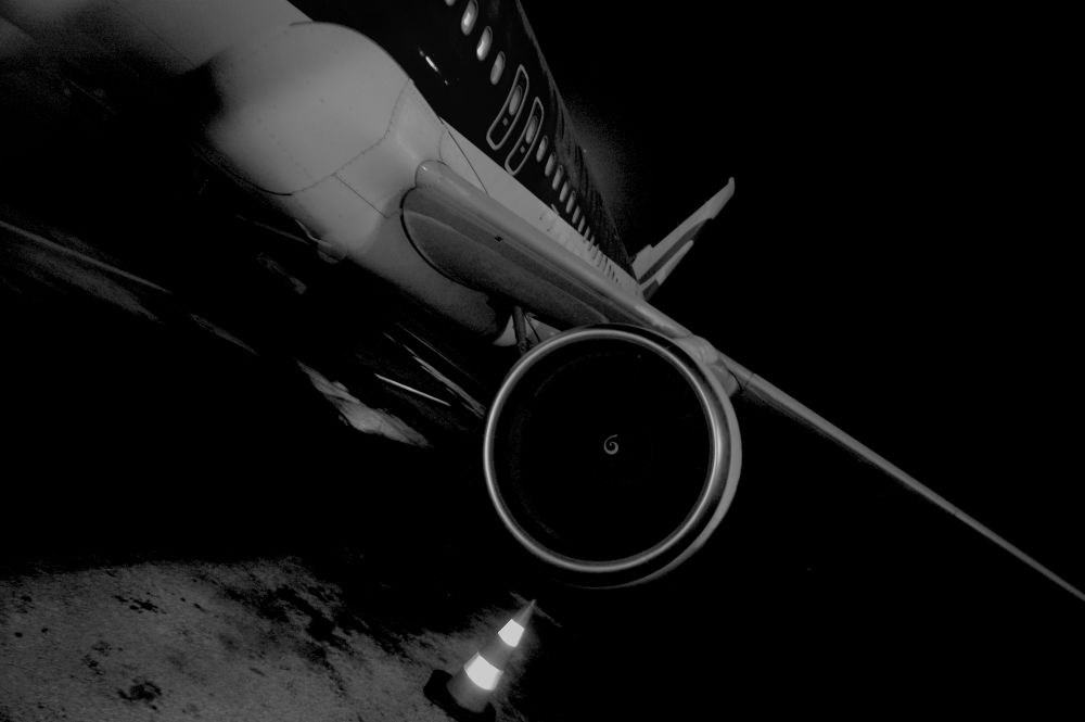 Photo in Black and White #black and white #plane #airport