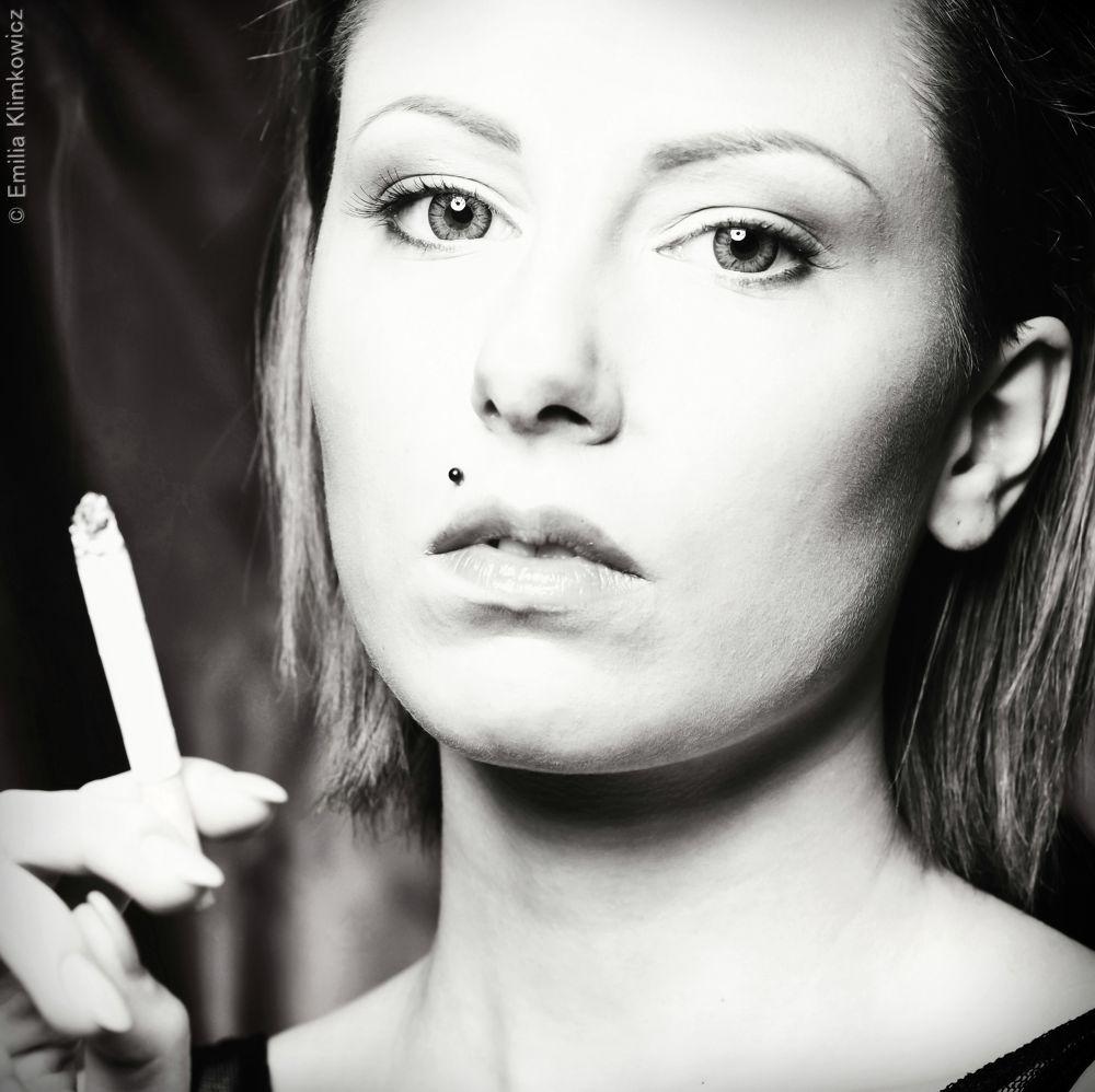 Photo in Portrait #black #white #women #smoke #cloud