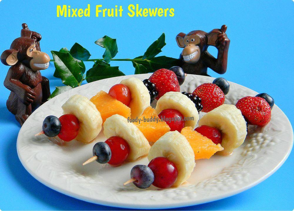 Mixed Fruit Skewers by biotechgayathri