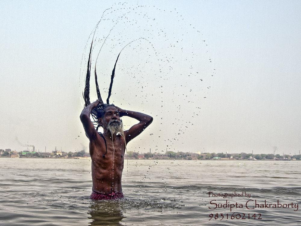 Bathing, Hooghly River, Kolkata, West Bengal, India by sudiptachakraborty14