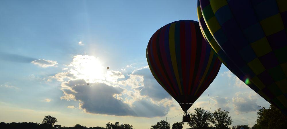 Photo in Random #hot air balloon #sun #trees