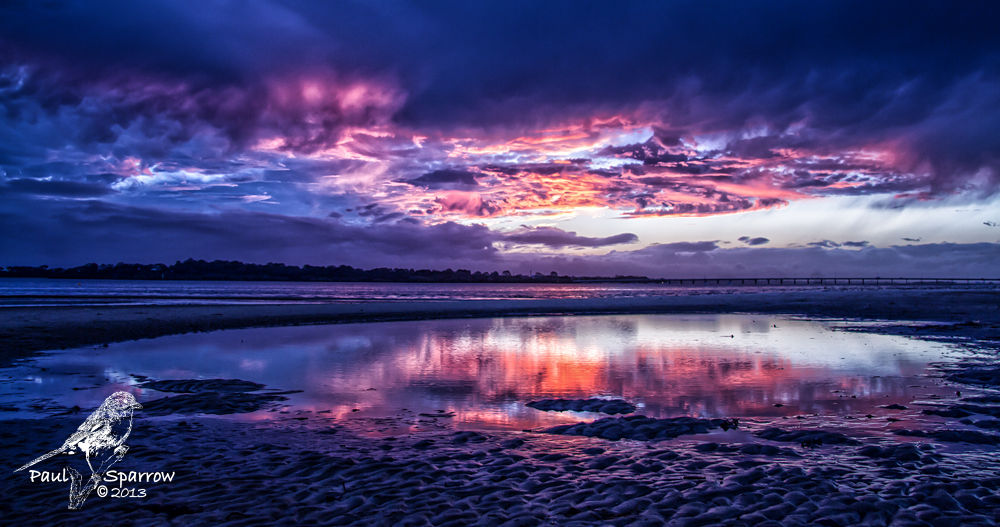 Photo in Sea and Sand #bribie island #sunsets #clouds #water #red #blue #water reflection
