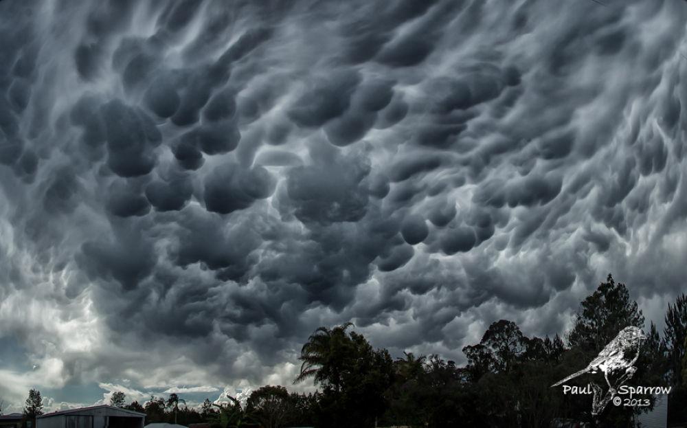 Mammatus clouds. by Paul Sparrow
