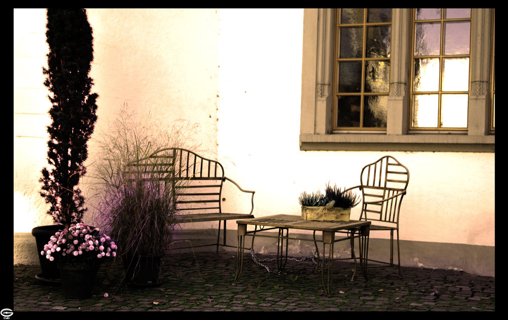 Photo in Still Life #chair #table #break #tea #coffee #flowers #house #city