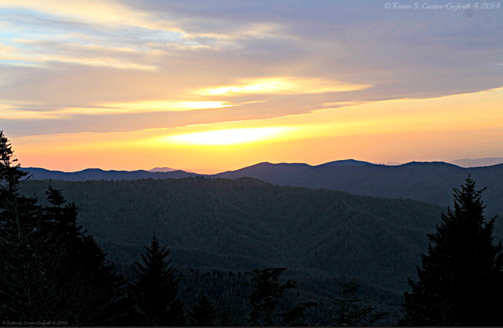 Sunset Over the Great Smoky Mountains by Karen Carter-Goforth