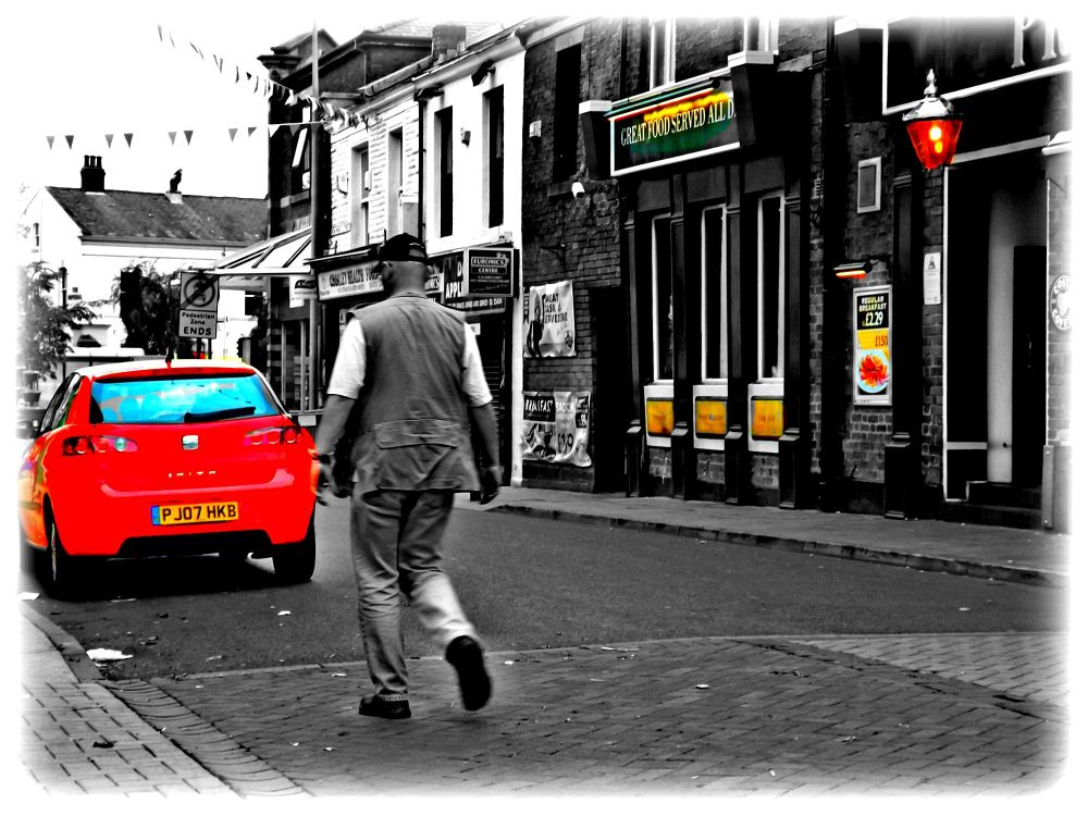 b/w with added colour (street photography ) by johnderbyshire31