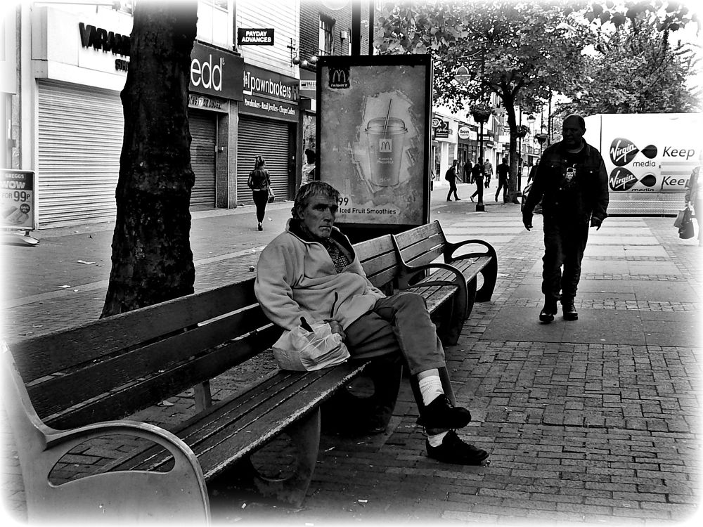 b/w (relaxing and watching ) street photography photo !!! by johnderbyshire31